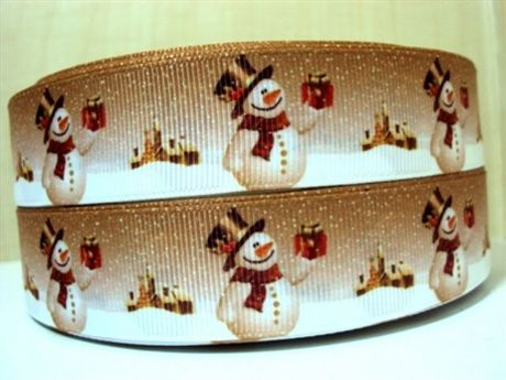 1 METRE LOVELY SNOWMAN CHRISTMAS XMAS RIBBON SIZE 1 INCH HAIR BOWS HEADBANDS